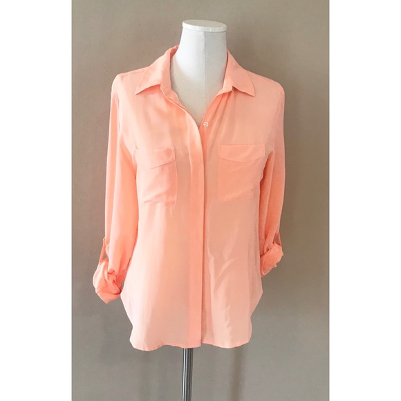 b692f15f52505a Ann Taylor Tops - Ann Taylor peach collared button up silk blouse